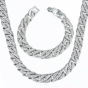 Men's 15mm Silver Bling Miami Bracelet Choker SET